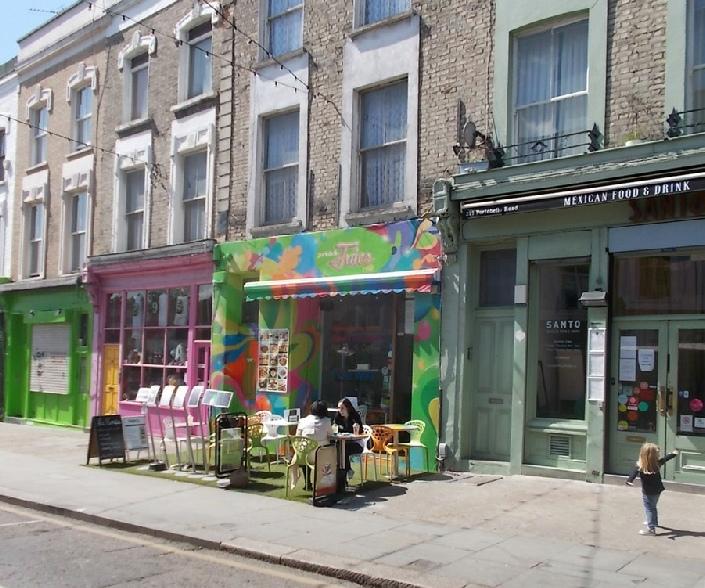 Portobello Juice Cafe, near to the Westway flyover on London's Portobello Road
