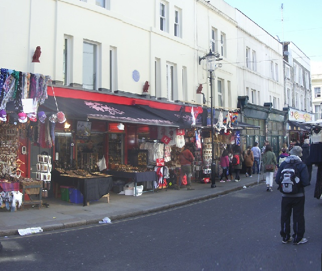 Market stalls at the Red Lion building in Portobello market
