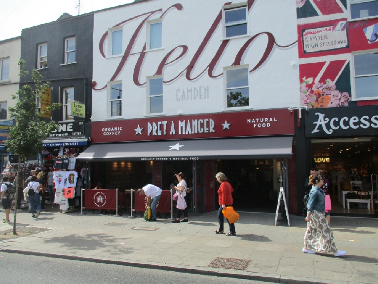 Pret a Manger cafe and take-away in London's Camden Town
