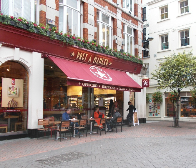 Pret a Manger sandwich bar on London's Carnaby Street