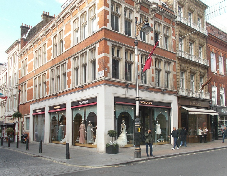 Pronovias wedding dress shop on London's New Bond Street