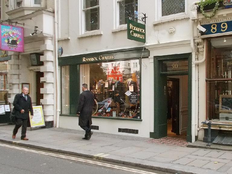 Roderick Charles men's tailoring shop in London