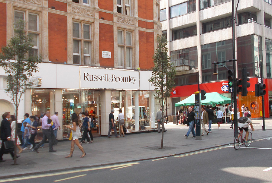 Russell and Bromley shoe shop on London's Oxford Street