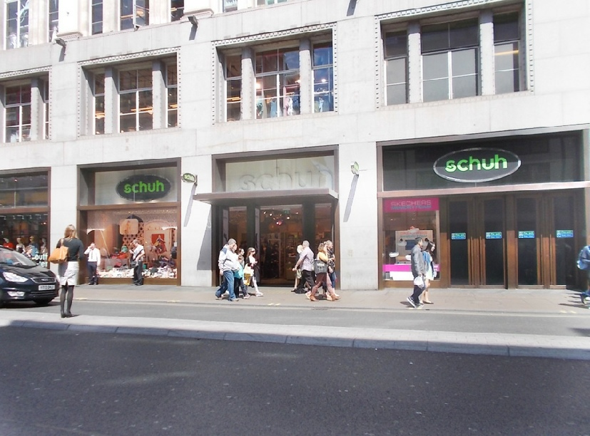 Schuh shoe shop on London's Oxford Street near Oxford Circus