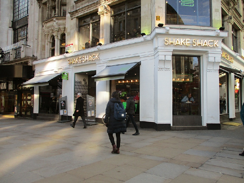 Shake Shack burgers in London, near to Leicester Square