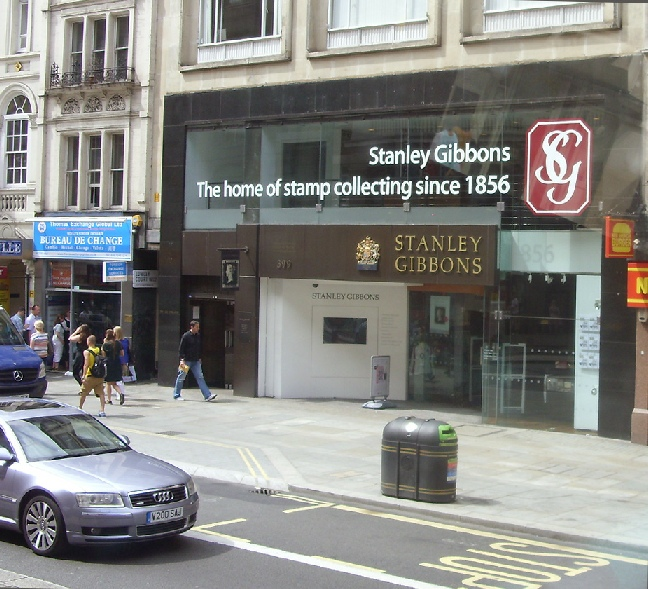 Stanley Gibbons stamp collecting shop on London's Strand