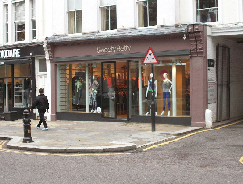 Sweaty Betty gymwear shop in London's Notting Hill