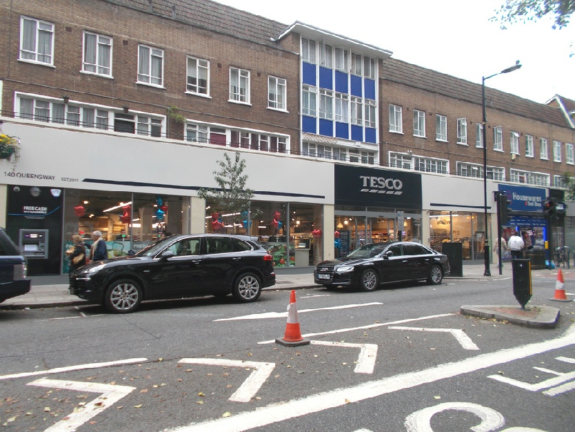 Tesco supermarket on Queensway in London's Bayswater, opposite Whiteleys.