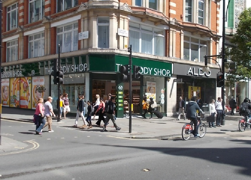 The Body Shop cosmetics and toiletries on London's Oxford Street