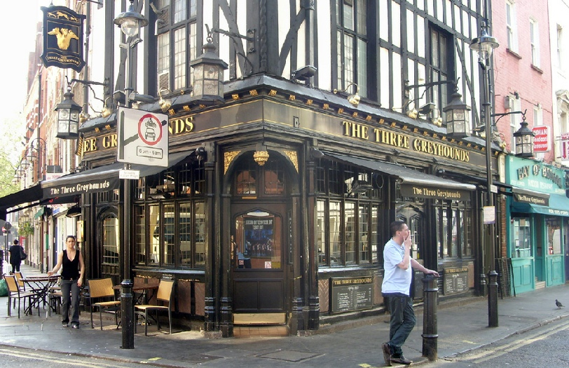 The Three Greyhounds pub in London's Soho