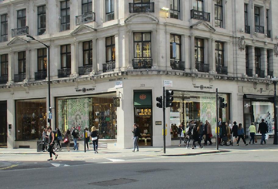 Tory Burch fashion accessories shop on London's Regent Street