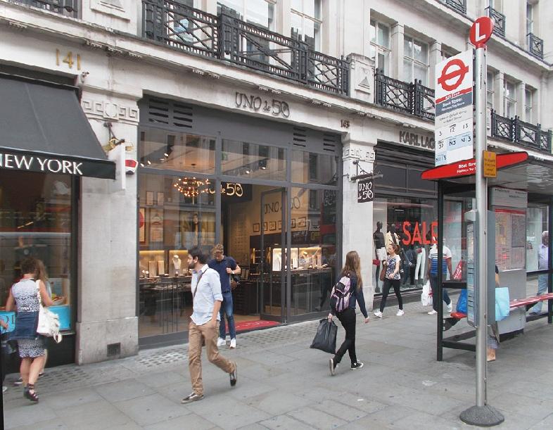 Uno de 50 jewellery shop on London's Regent Street