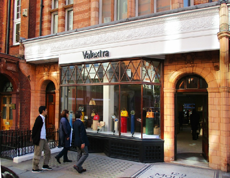 Valextra handbags shop in London's Mayfair