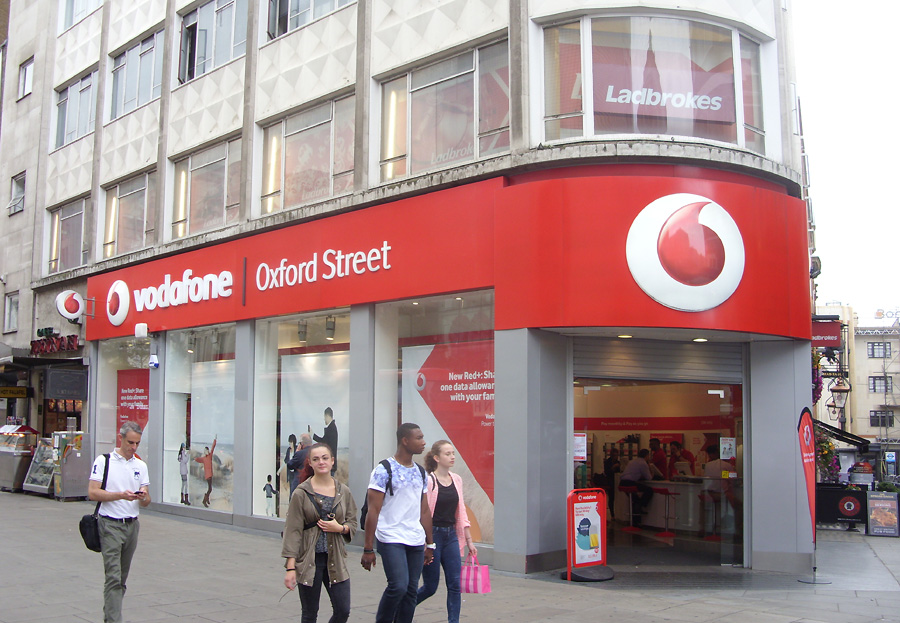 Vodafone phone shop on London's Oxford Street