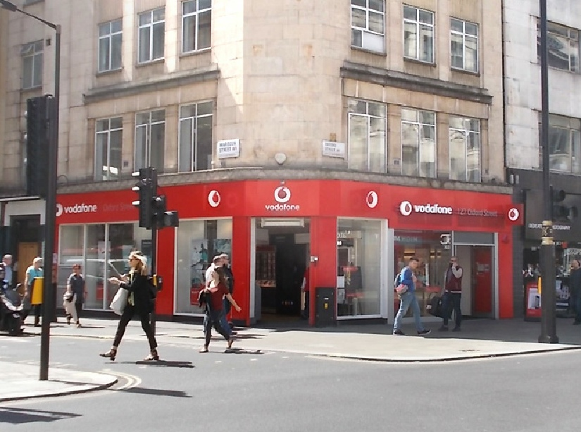 Vodafone shop on Oxford Street in London