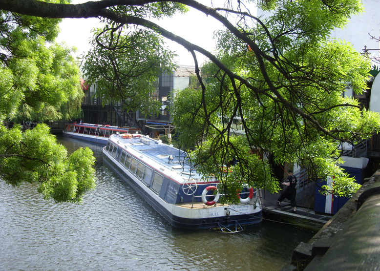 Canal boats from the bridge at