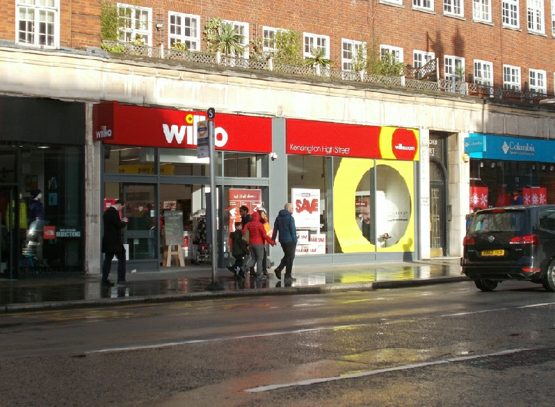 Wilko homewares store on Kensington High Street in London