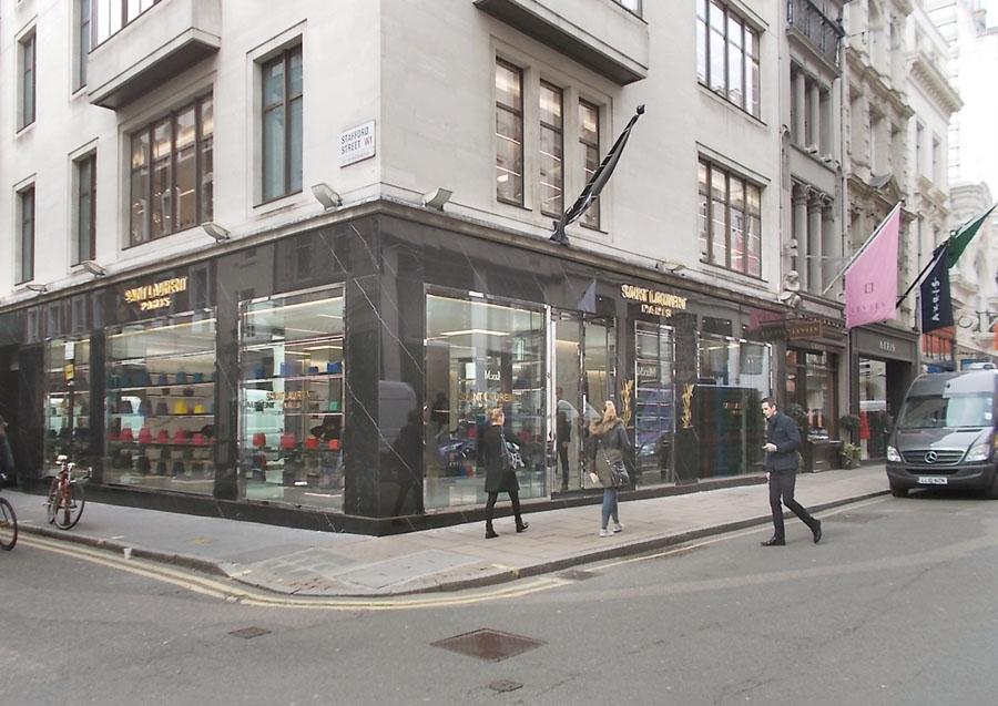 Yves Saint Laurent shop on Old Bond Street in London's Mayfair