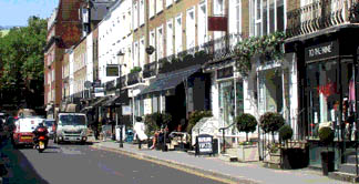 Shops and restaurants on Beauchamp Place in London