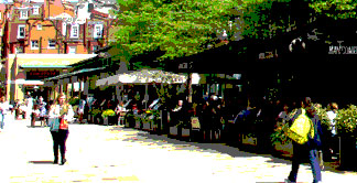 Restaurants and cafes in Duke of York Square in London's Chelsea