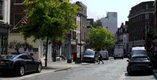 Shops and restaurants on Elizebeth Street in London's Belgravia