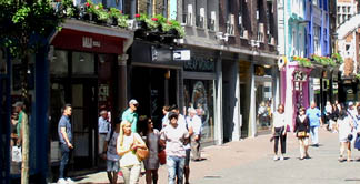 Clothes and shoe shops on Carnaby Street in London