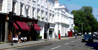 Shops and restaurants on Fulham Road in London's Chelsea