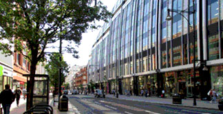 Shops on Oxford Street near to Marble Arch in London