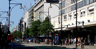 Department stores on Oxford Street in London near to Oxford Circus