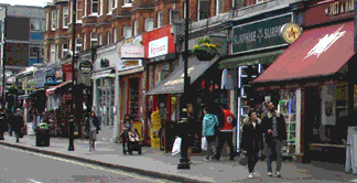 Shops and restaurants on Queensway in London