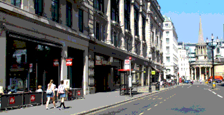 Shops and cafes on London's Regent Street to the north of Oxfrod Circus