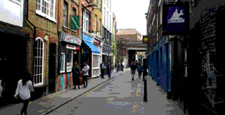 Clubs and bars on Rivington Street in London's Shoreditch