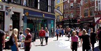 Cafes and bars in the Carnaby area of London