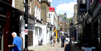 Shops and cafes on Camden Passage in Islington