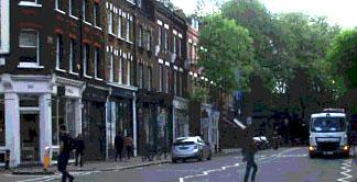 Shops and restaurants along Upper Street in Islington