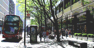 Shops and cafes on Tottenham Court Road near Oxford Street