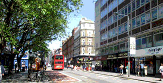 Shops and restaurants on Tottenham Court Road in London