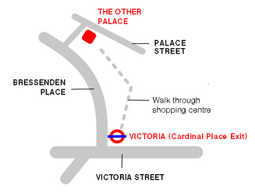 Simple map to the Other Palace theatre in London