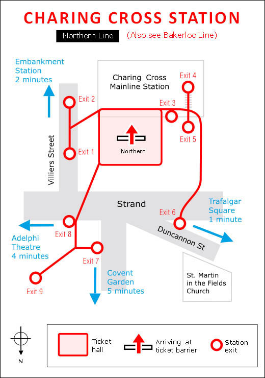 Plan of Charing Cross Northern Line underground station in London