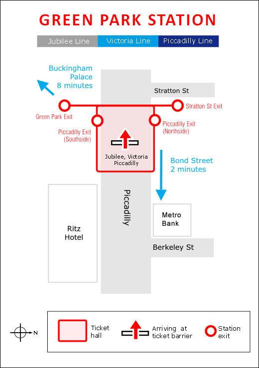 Plan Green Park Underground Station London