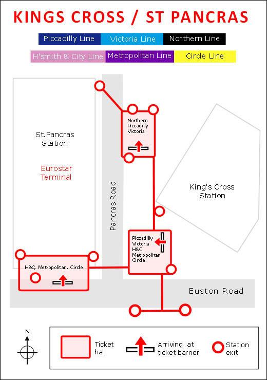 Plan Of Kings Cross St Pancras Underground Station In London
