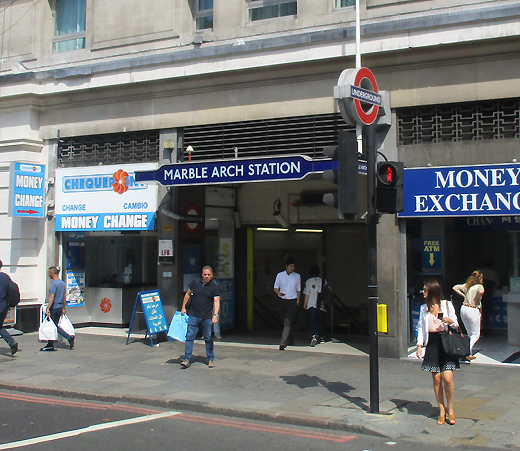 Marble Arch tube station exit on northside of Oxford Street