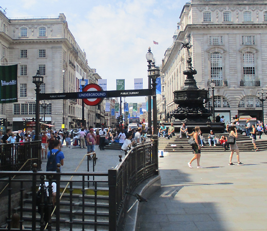 Piccadilly Circus tube station exit at the statue of Eros