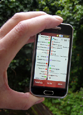 Photo of the London shopping maps on a mobile phone
